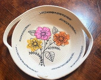 Basket, Basket with Embroidery, Handmade Basket, Rope Basket, Rope Bowl
