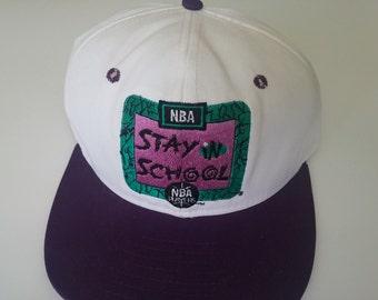 90s Old School NBA Stay in School Snapback Vintage Cap Hat 7fb4ff12d69