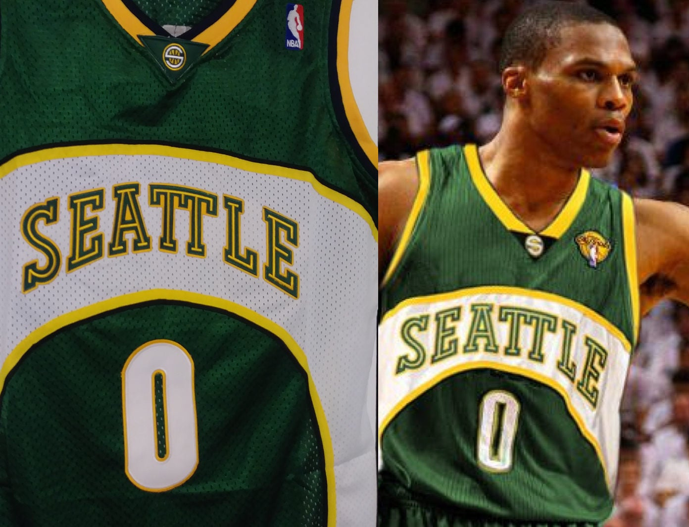 Russell Westbrook Seattle Supersonics Sonics Away Green Jersey