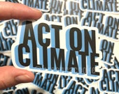 Act On Climate | Sticker - retro 3D text - 3.2 x 1.8 in