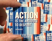 Action is the Antidote to Despair Quote | Sticker - Global Warming Stripes - 2 x 2 in.