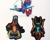 3 Sticker Set | Body Painting Works by Breanna Cooke | Betta Fish, Richmond Wrasse, Jewel Beetle