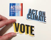 3 Sticker Set | Act On Climate, Vote, and Action is the Antidote Global Warming Stripes - 3 Stickers