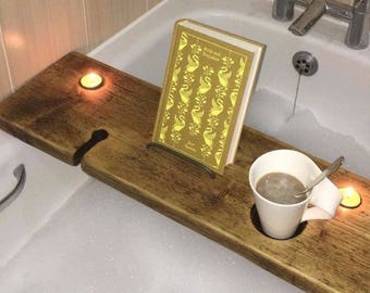 Birthday Gift - Bath Caddy Wood - Bath Caddy Tray - Bath Caddy Book Holder - Bathroom Caddy - Rustic Wood - Reclaimed Wood Board - Relax