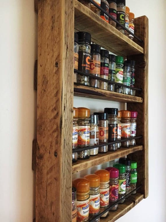 Spice Rack Storage For Spices Rustic Wood Kitchen Etsy