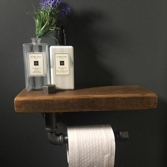 Rustikale Badezimmer - Badezimmer Regal - Holz Toilettenpapierhalter -  Stahl Toilettenpapier Halter - Steampunk Badezimmer - Loo Roll Halter