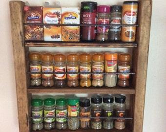 Spice Rack | Wooden Spicerack | Kitchen Storage | Rustic Spice Rack | Wood and Metal | Spice Jar Storage | Rustic Wood | Reclaimed Wood