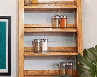 Rustic wood spice rack   Storage for spice jars   Perfect for gifts and cooking lovers   Various finishes   Wall mounted or free standing