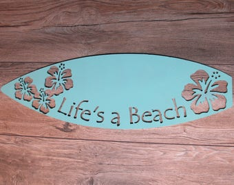 Life's a beach surfboard wall art