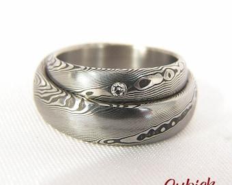 Ruberdur - Damasteel wedding rings with diamond/damascus ring/unique/handcrafted/pattern/handmade/handforget