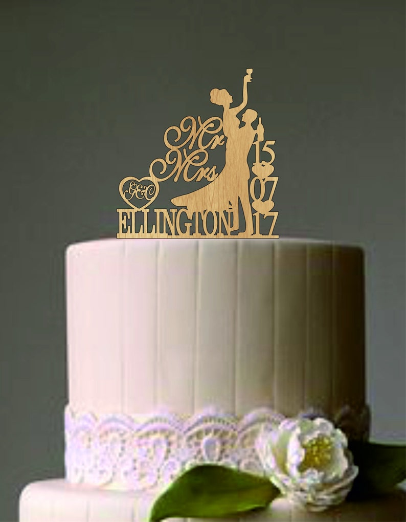 Drunk Bride Wedding Cake Topper Mr And Mrs Wedding Cake Etsy