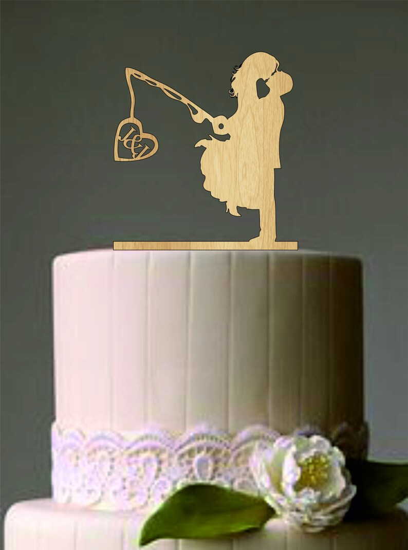 Unique Wedding Cake Topper Wedding Couple Fishing Pole Heart Rustic Cake Topper Custom Personalized Wedding Cake Topper Funny Cake