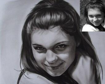 Original pencil drawing portrait painting,custom pencil sketch portrait,photos to drawing,hand painted pencil portrait on paper