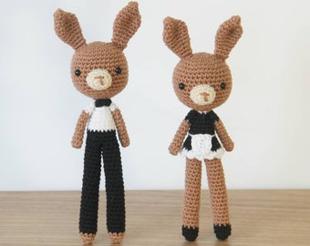 Costume Bunny Waiter Waitress Amigurumi Crochet Pattern Set