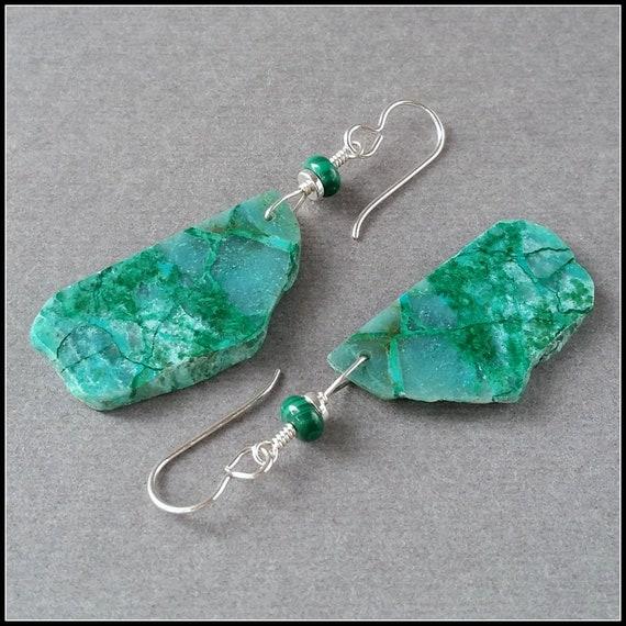 Redondo Verde y Azul Chrysocolla piedras preciosas oxidado pendientes de plata