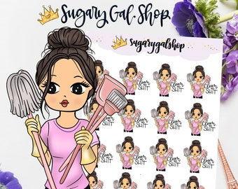 Miss Lady D Glam Cleaning Day Planner Sticker Sheet