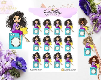 Miss Glam Lady D Laundry Planner Sticker Sheet