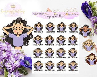 Miss Glam Lady D Migraine Planner Stickers Sheet