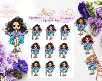 Miss Glam Lady D Manicure Time Planner Sticker Sheet