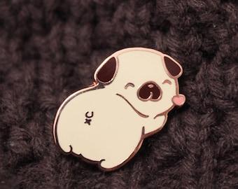 Pug Butt Butt hard enamel pin , puppy, doggy, lapel hard enamel, cute, kawaii, heart, kiss, pug pin, year of the dog