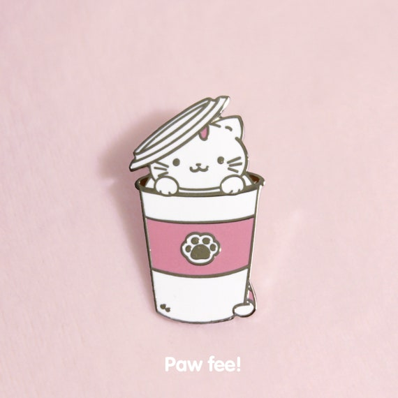 Paw Fee Enamel Pin Kitty Cat Cute Lapel Pin Starbucks Coffee Brooch Jewelry