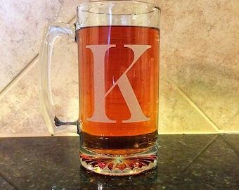 Beer Mug, Large beer mug, 27oz, SINGLE INITIAL, you choose initial, choose custom font, engraved beer mug, groomsman gifts, birthday gifts