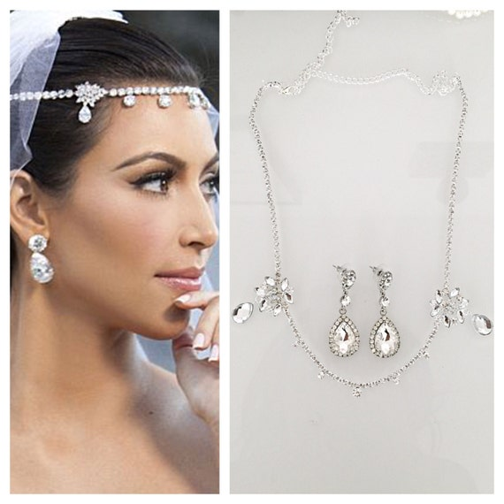 SALE Kardashian wedding headpiece earrings set tiara headband  4dccb0b0739