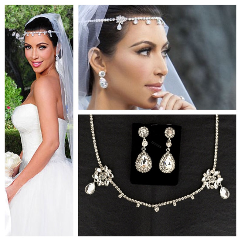 Kim Kardashian wedding headpiece earrings set tiara headband  2cfb5fe1d01