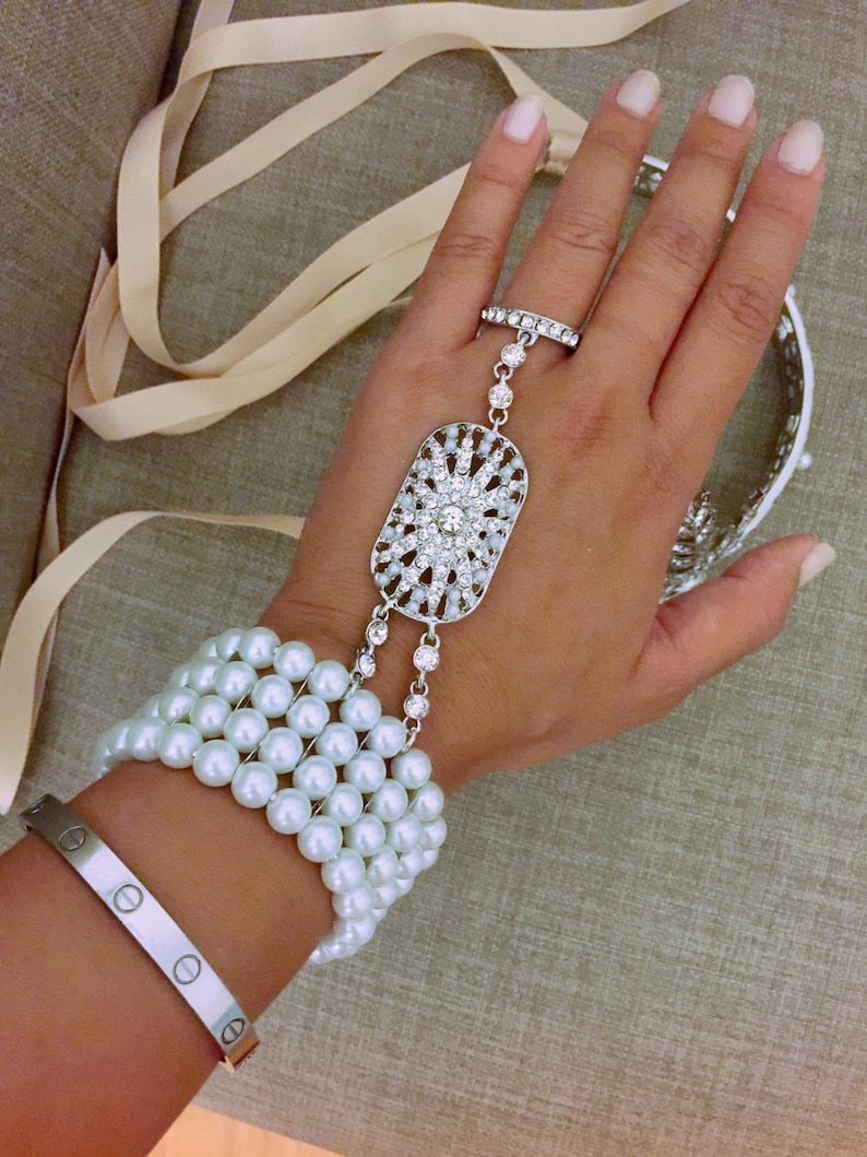 Bracelet 1920's Flapper Great Gatsby Daisy Style Silver Crystal Pearl Bracelet Ring Gift