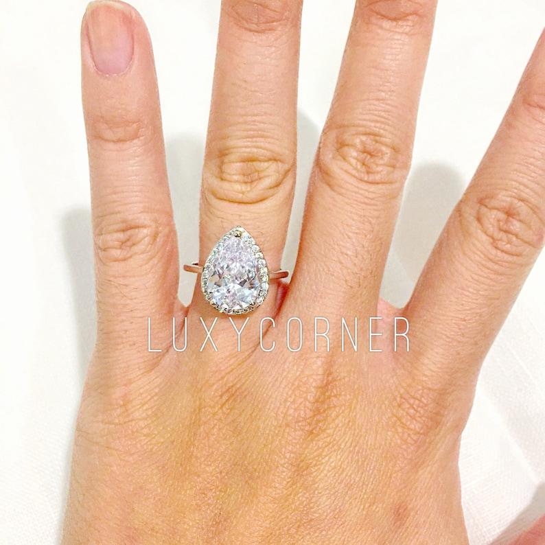 ae45b213f5756 4ct Pear diamond engagement ring, pear halo engagement ring, tear shaped  engagement ring, pear shaped, engagement ring, halo engagement ring