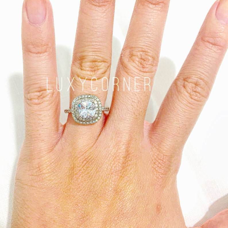 1 5 Carat Square Halo Engagement Ring Cushion Cut Halo Engagement Ring Double Halo Engagement Ring Square Halo Diamond Engagement Ring