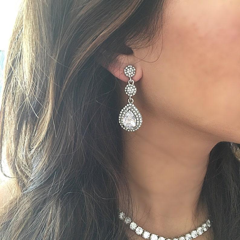7a0f7a1b0 Crystal diamond Wedding earrings crystal PROM earrings | Etsy