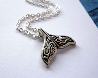 Whale Tail Necklace / Silver Whale Tail Pendant / Layering Necklace / Maori Whale Tail / Silver Chain Necklace / Wish Knots