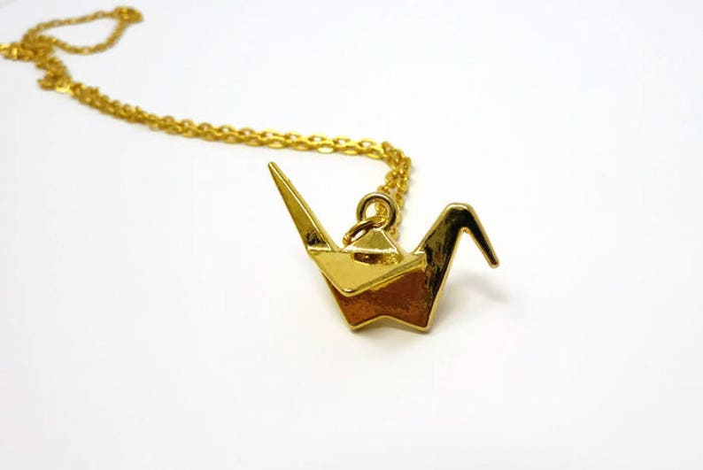 Origami Crane Pendant  Paper Crane Necklace  Origami Animal Necklace  Layering Jewellery  Origami Necklace  Foxy Gift  Wish Knots