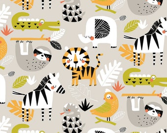 QUILTING COTTON FABRIC Blend Safari Adventure in Gray Sold by the 1/2 yard