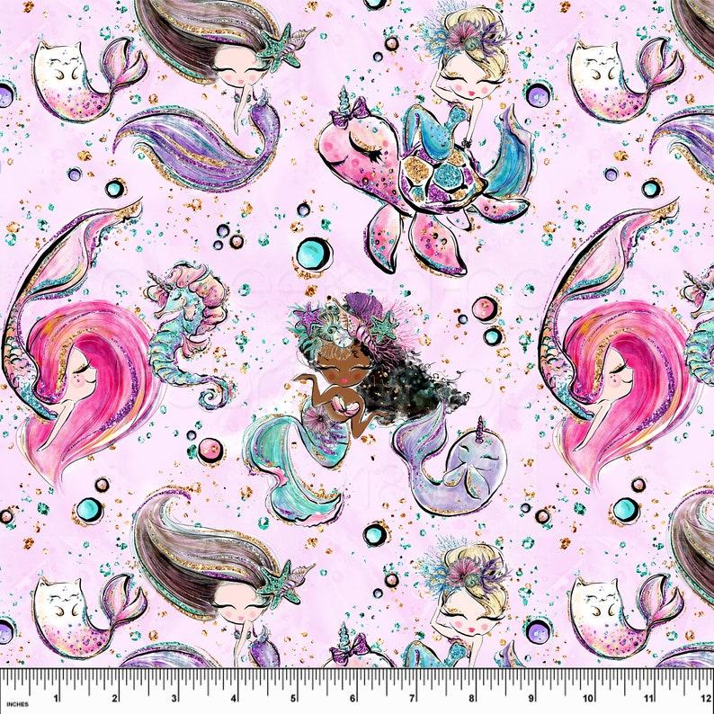 SWIM Fabric: Pink Mermaids UV 50 Swim Fabric. Sold By The