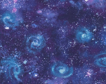 KNIT Fabric: Robert Kaufman Astral Galaxy Cotton Lycra. Sold by the 1/2 yard