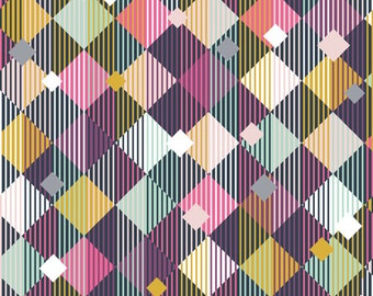 KNIT Fabric Bolt Linear Diamonds Cotton Lycra Knit Fabric. Sold by the 1/2 Yard