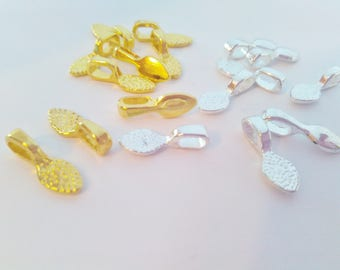 """10 Small Glue On Jewellery Bails 15mm (5/8"""") Silver Plated or Gold Stick On Pendant Pad Settings, Jewellery Making Bails Findings"""