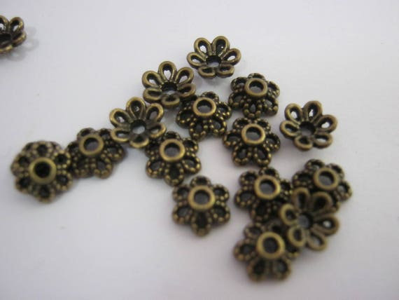 "1//4/"" Gold Silver Rose Gold Bronze Bead Ends Findings 50 Flower Bead Caps 6mm"