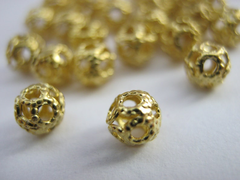 100 Filigree Beads 4mm Gold Colour Plated Metal Spacer Jewellery Making Beads