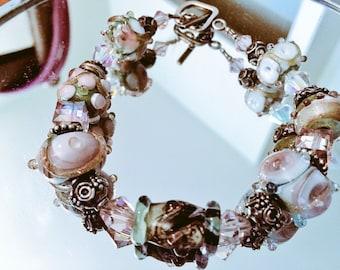 Cinderella Bracelet/ Lampwork beads & Austrian crystals