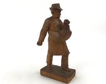 Carved Figures/models Vintage Carved Wooden Figure Holding A Barrel Antiques