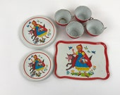 Little Red Riding Hood Metal Tin Litho Tea Set, Ohio Art Fairy Tale Tea Set Toy, 13 Pieces Cups Saucers Plates and Tray