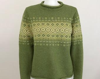 0c06e002a42b LL Bean Sweater Nordic Fair Isle Wool Blend Womens Size L