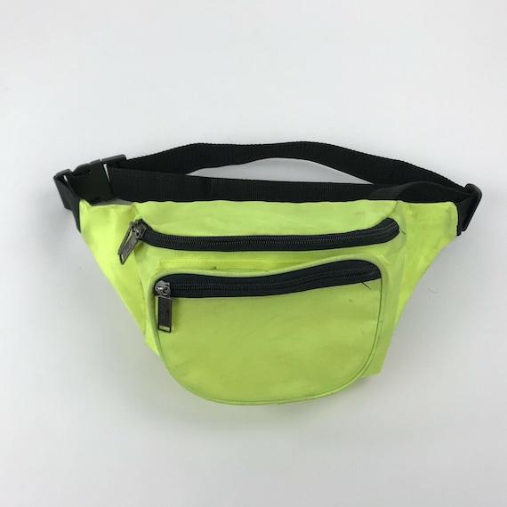 Vintage Nylon Fanny Pack Belt Bag Neon Yellow