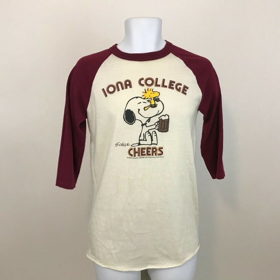 Vintage Iona College Snoopy Baseball T Shirt Mens