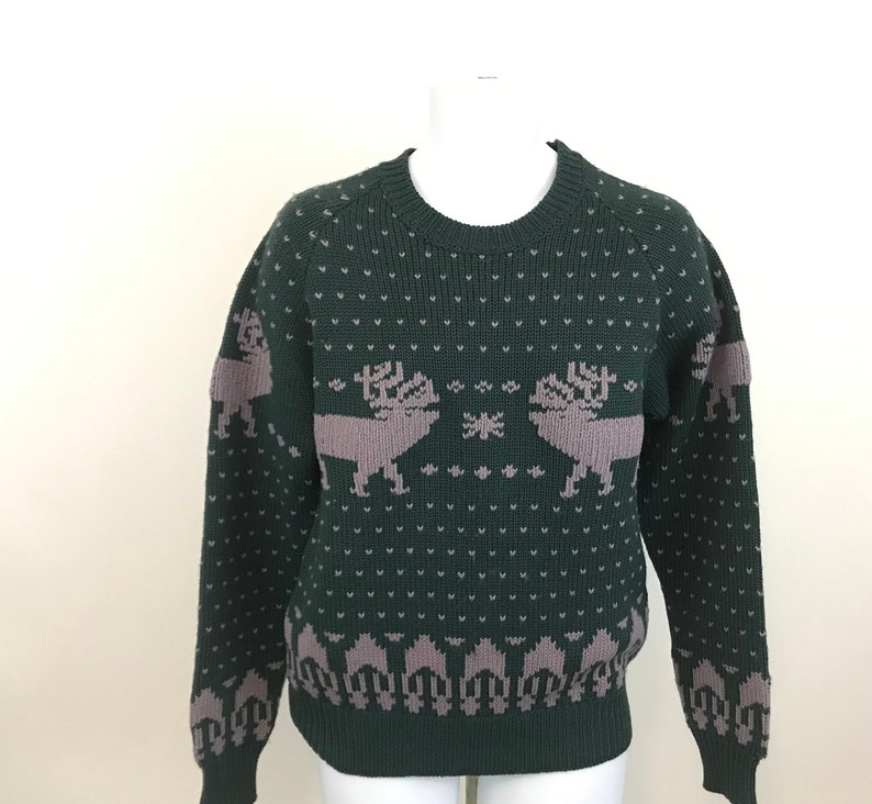 Vintage Moose Elk Wool Sweater Cesarani Adult Size XL, Green Wool Reindeer  Sweater