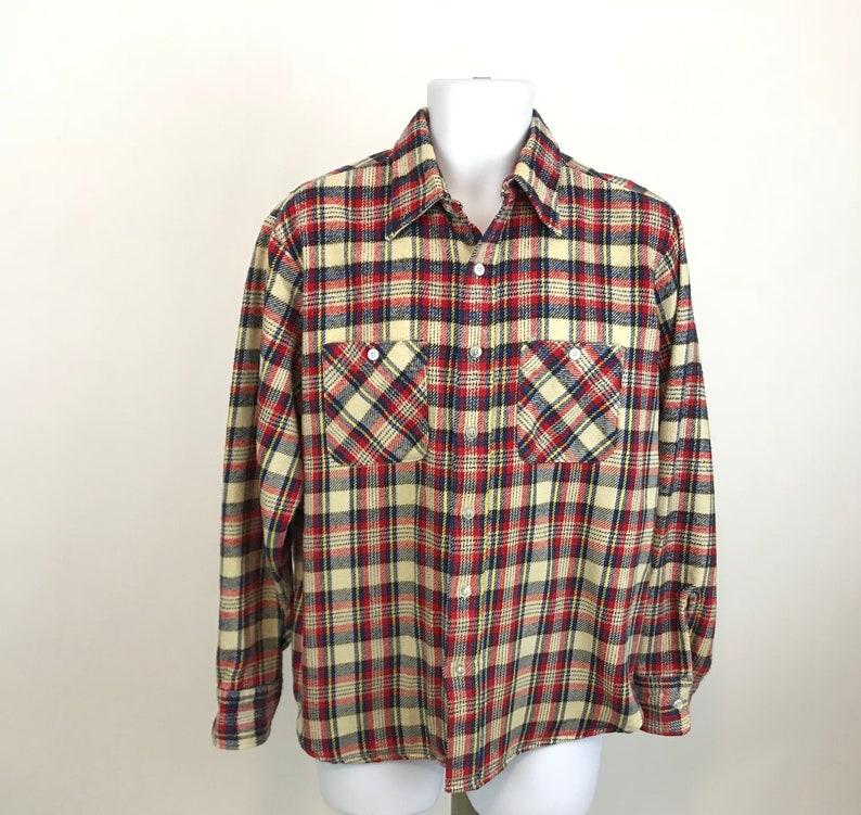 Sutton Woven Plaid Flannel Shirt Men S Size Xl Red Blue Etsy