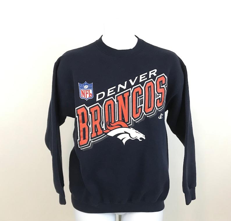 check out d9ea4 4df1d Vintage NFL Denver Broncos Sweatshirt Size M, Logo Athletic Blue Crewneck  Pullover Sweatshirt, Broncos Gear